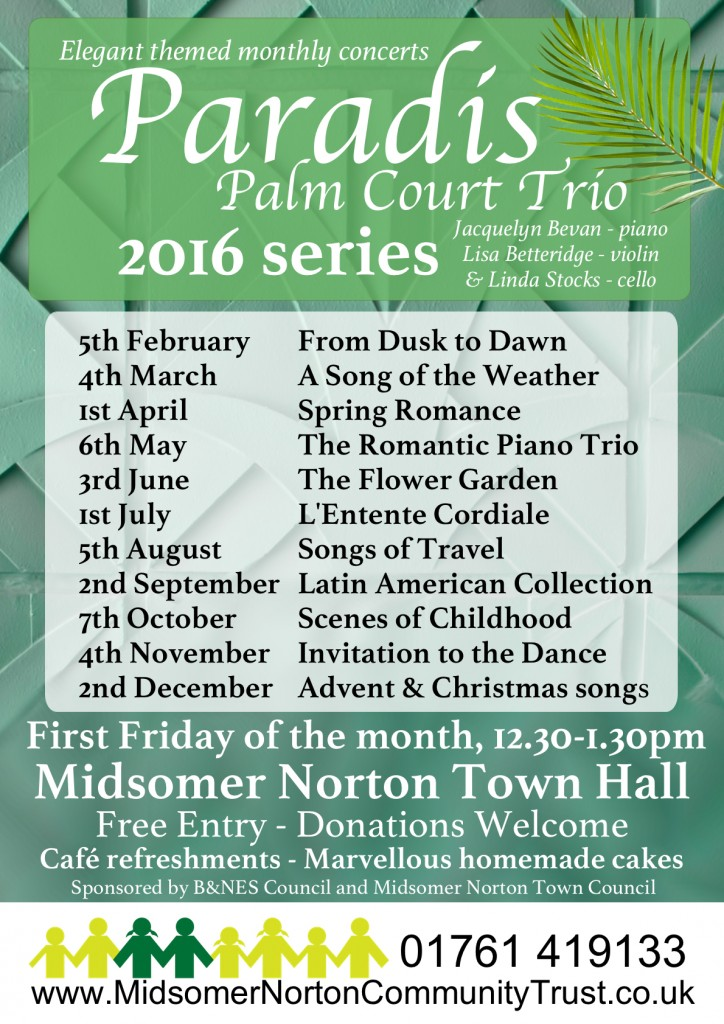 Paradis Palm Court Trio @ Midsomer Norton Town Hall | Midsomer Norton | United Kingdom