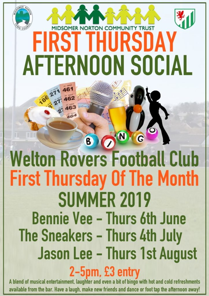 First Thursday Afternoon Social @ Welton Rovers | Midsomer Norton | United Kingdom