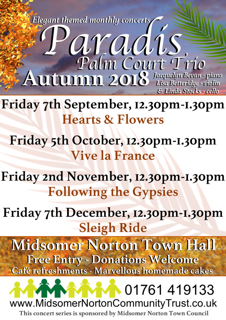 Paradis Palm Court Trio @ Midsomer Norton Town Hall | Midsomer Norton | England | United Kingdom